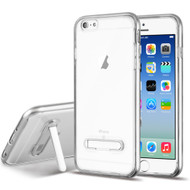 Bumper Shield Clear Transparent TPU Case with Magnetic Kickstand for iPhone 6 / 6S - Silver