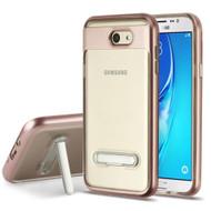 Bumper Shield Transparent TPU Case with Kickstand for Samsung Galaxy J7 (2017) / J7 V / J7 Perx - Rose Gold