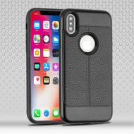 Leather Texture Anti-Shock Hybrid Protection Case for iPhone XS / X - Black