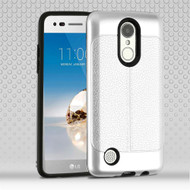 Leather Texture Anti-Shock Hybrid Protection Case for LG Aristo / Fortune / K8 (2017) / Phoenix 3 - Silver