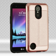 Leather Texture Anti-Shock Hybrid Protection Case for LG K20 Plus / K20 V / K10 (2017) / Harmony - Rose Gold