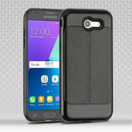 Leather Texture Anti-Shock Hybrid Case for Samsung Galaxy J3 (2017) / J3 Emerge / J3 Prime / Amp Prime 2 - Black