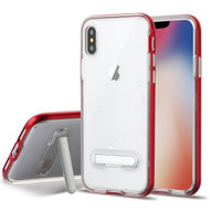 Bumper Shield Clear Transparent TPU Case with Magnetic Kickstand for iPhone XS / X - Red