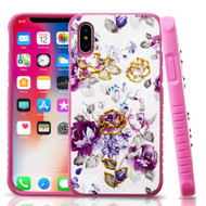 Tough Anti-Shock Hybrid Protection Case for iPhone X - Violet Flowers