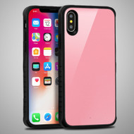Scratch Proof Tempered Glass Tough Anti-Shock Hybrid Protection Case for iPhone XS / X - Pink