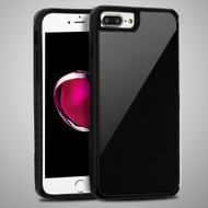 Scratch Proof Tempered Glass Tough Anti-Shock Hybrid Case for iPhone 8 Plus / 7 Plus / 6S Plus / 6 Plus - Black