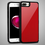 Scratch Proof Tempered Glass Tough Anti-Shock Hybrid Case for iPhone 8 Plus / 7 Plus / 6S Plus / 6 Plus - Red