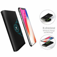 True Wireless Power Bank Qi Inductive Charging Pad 8000mAh Battery - Black