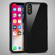 Scratch Proof Tempered Glass Tough Anti-Shock Hybrid Protection Case for iPhone XS / X - Black