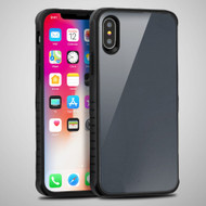 Scratch Proof Tempered Glass Tough Anti-Shock Hybrid Protection Case for iPhone XS / X - Grey