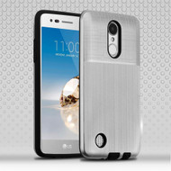 Double Texture Anti-Shock Hybrid Protection Case for LG Aristo / Fortune / K8 (2017) / Phoenix 3 - Silver