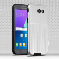 Double Texture Hybrid Armor Case for Samsung Galaxy J3 (2017) / J3 Emerge / J3 Prime / Amp Prime 2 - Silver