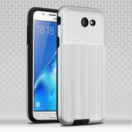 *Sale* Double Texture Anti-Shock Hybrid Protection Case for Samsung Galaxy J7 (2017) / J7 V / J7 Perx - Silver