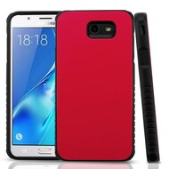Tough Anti-Shock Hybrid Protection Case for Samsung Galaxy J7 (2017) / J7 V / J7 Perx - Red