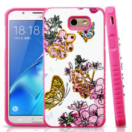 Tough Anti-Shock Hybrid Protection Case for Samsung Galaxy J7 (2017) / J7 V / J7 Perx - Butterfly and Flowers