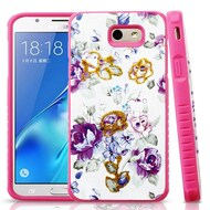 Tough Anti-Shock Hybrid Protection Case for Samsung Galaxy J7 (2017) / J7 V / J7 Perx - Violet Flowers