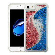 Confetti Dual Chamber Quicksand Glitter Transparent Case for iPhone 8 / 7 / 6S / 6 - Rose Gold Blue