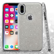 Full Glitter Hybrid Protective Case with Rhinestones for iPhone XS / X - Silver