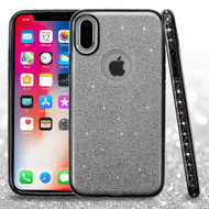 Full Glitter Hybrid Protective Case with Rhinestones for iPhone XS / X - Black