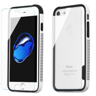 Surround Bumper Shield + Front and Back Tempered Glass Screen Protector for iPhone 8 / 7 - White