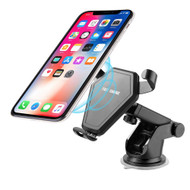 In-Car Windshield and Air Vent Mount Wireless Fast Charging Qi Charger - Black