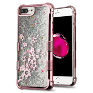 Tuff Lite Quicksand Glitter Electroplating Case for iPhone 8 Plus / 7 Plus / 6S Plus / 6 Plus - Spring Flowers Rose Gold