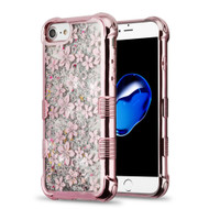 Tuff Lite Quicksand Glitter Electroplating Transparent Case for iPhone 8 / 7 / 6S / 6 - Hibiscus Rose Gold