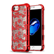 Tuff Lite Quicksand Glitter Electroplating Transparent Case for iPhone 8 / 7 / 6S / 6 - Hibiscus Red