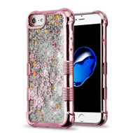 Tuff Lite Quicksand Glitter Electroplating Transparent Case for iPhone 8 / 7 / 6S / 6 - Spring Flowers Rose Gold
