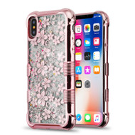 Tuff Lite Quicksand Glitter Electroplating Transparent Case for iPhone XS / X - Hibiscus Rose Gold