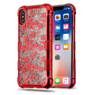 *Sale* Tuff Lite Quicksand Glitter Electroplating Transparent Case for iPhone XS / X - Hibiscus Red