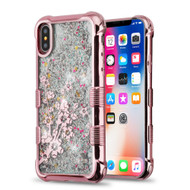 *Sale* Tuff Lite Quicksand Glitter Electroplating Transparent Case for iPhone XS / X - Spring Flowers Rose Gold