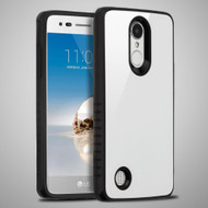 Scratch Proof Tempered Glass Tough Anti-Shock Hybrid Case for LG Aristo / Fortune / K8 (2017) / Phoenix 3 - White