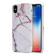 *Sale* Marble IMD Soft TPU Case for iPhone XS / X - White Gold