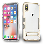 *Sale* TUFF Panoview Transparent Hybrid Case with Magnetic Kickstand for iPhone XS / X - Gold