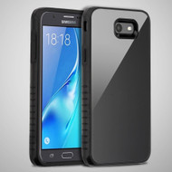 Scratch Proof Tempered Glass Tough Anti-Shock Hybrid Case for Samsung Galaxy J7 (2017) / J7 V / J7 Perx - Black