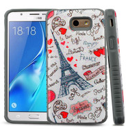 Tough Anti-Shock Triple Layer Hybrid Case for Samsung Galaxy J7 (2017) / J7 V / J7 Perx - Eiffel Tower