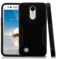 Hybrid Armor Case with Carbon Fiber Accents for LG Aristo / Fortune / K8 (2017) / Phoenix 3 - Black