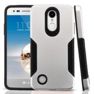 *Sale* Hybrid Armor Case with Carbon Fiber Accents for LG Aristo / Fortune / K8 (2017) / Phoenix 3 - Silver