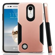 Hybrid Armor Case with Carbon Fiber Accents for LG Aristo / Fortune / K8 (2017) / Phoenix 3 - Rose Gold