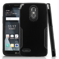 *SALE* Hybrid Armor Case with Carbon Fiber Accents for LG Stylo 3 / Stylo 3 Plus - Black