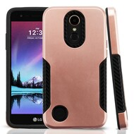 Hybrid Armor Case with Carbon Fiber Accents for LG K20 Plus / K20 V / K10 (2017) / Harmony - Rose Gold