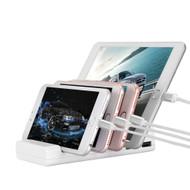 Desktop Quad Charger 4 USB Ports 5.1A Charging Station - White