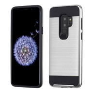 Brushed Coated Hybrid Armor Case for Samsung Galaxy S9 Plus - Silver