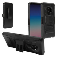 Advanced Armor Hybrid Kickstand Case with Holster for Samsung Galaxy S9 Plus - Black
