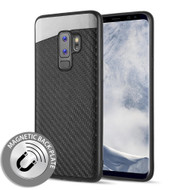 Carbon Metallic Luxury Fusion Case with Magnetic Back Plate for Samsung Galaxy S9 Plus - Black
