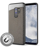 Carbon Metallic Luxury Fusion Case with Magnetic Back Plate for Samsung Galaxy S9 Plus - Grey