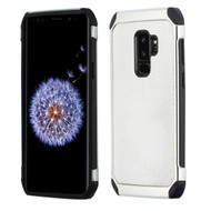 *Sale* Chrome Tough Anti-Shock Hybrid Case with Leather Backing for Samsung Galaxy S9 Plus - Silver