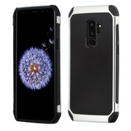 Chrome Tough Anti-Shock Hybrid Case with Leather Backing for Samsung Galaxy S9 Plus - Black
