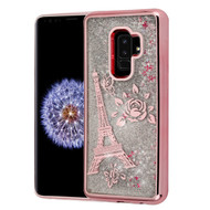Electroplating Quicksand Glitter Transparent Case for Samsung Galaxy S9 Plus - Eiffel Tower Rose Gold